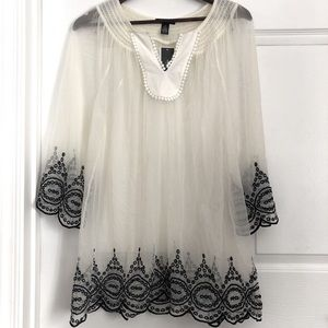 NEW! Sheer Coverup Pull over top Size 1X